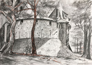 Graphite on paper drawing of Castell Coch in Fforest Fawr, Tongwynlais
