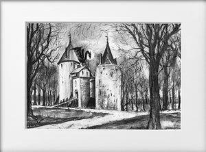 Mounted Print - (Unframed) - Castell Coch and the dragon