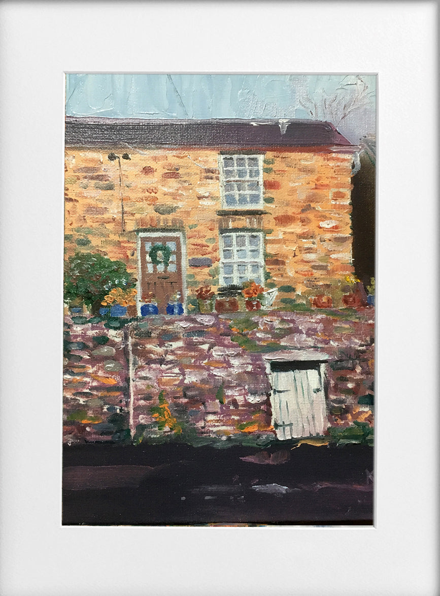 Mounted Print - (Unframed) - Cottage with coal shed, Gwaelod Y Garth