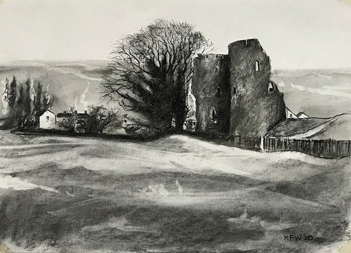 Crickhowell Castle - Charcoal on Paper