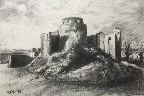 Welsh Castles - Dinefwr - Charcoal on paper