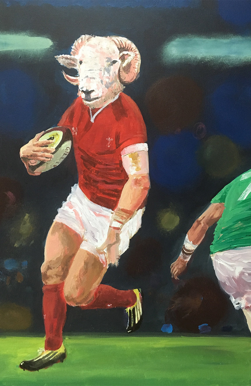 Rugby Art Wales - Flying winger