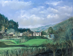 Original oil painting on canvas of Lan Farm, Gwaelod y Garth