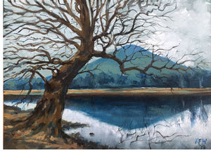 Original oi painting of Lan Farm pond at the north end of Gwaelod y Garth