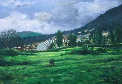 An original oil on canvas painting showing a view from the north end of Gwaelod y Garth back over Garth Olwg
