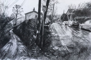 Original charcoal drawing of where Old School Lane meets the main road running through Gwaelod Y Garth