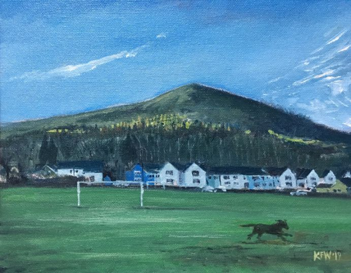 An original oil painting looking from the Heol Berry green in Gwaelod y Garth up at the Garth Mountain
