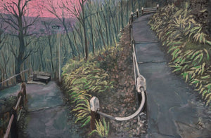 Original oil painting on canvas showing a section of the Zigzag path which leads from Pont Sion Phillip up through Gwaelod y Garth