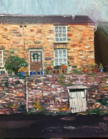 Original oil painting of a miner's cottage with coal shed underneath on the main road of Gwaelod y Garth