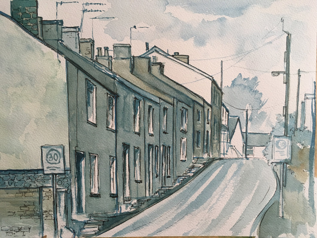 Mixed media painting and drawing of Wyndham Street in Tongwynlais