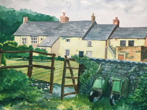 A watercolour painting of Gelynis Farm House in Morganstown, Cardiff