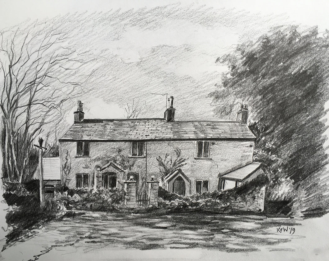 Graphite on paper drawing of Ivy Cottage, Tongwynlais