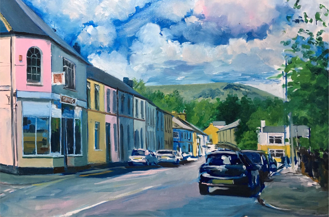 Oil painting of the Spa shop with the Garth mountain in the distance as seen from Tongwynlais