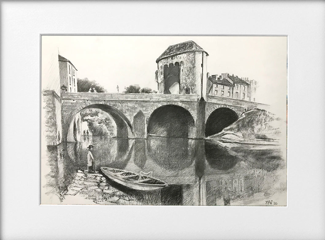 Mounted Print - (Unframed) - Monnow Bridge, Monmouth