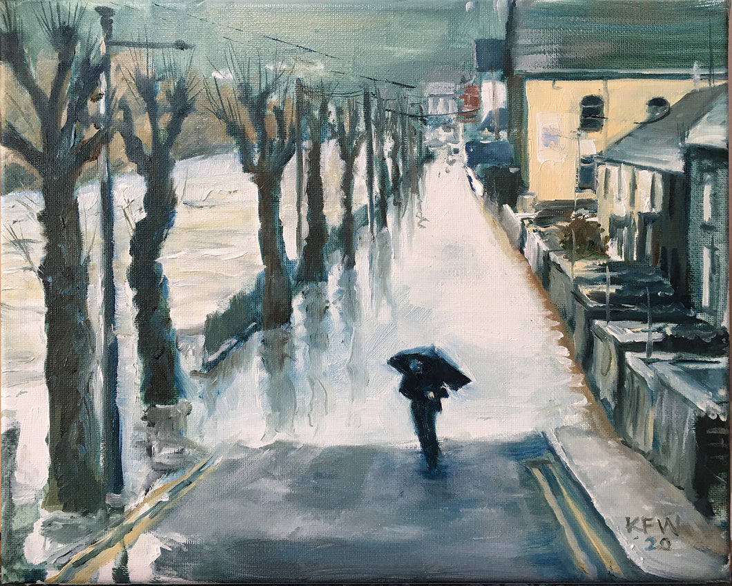 Pontypridd after storm Dennis - oil on canvas
