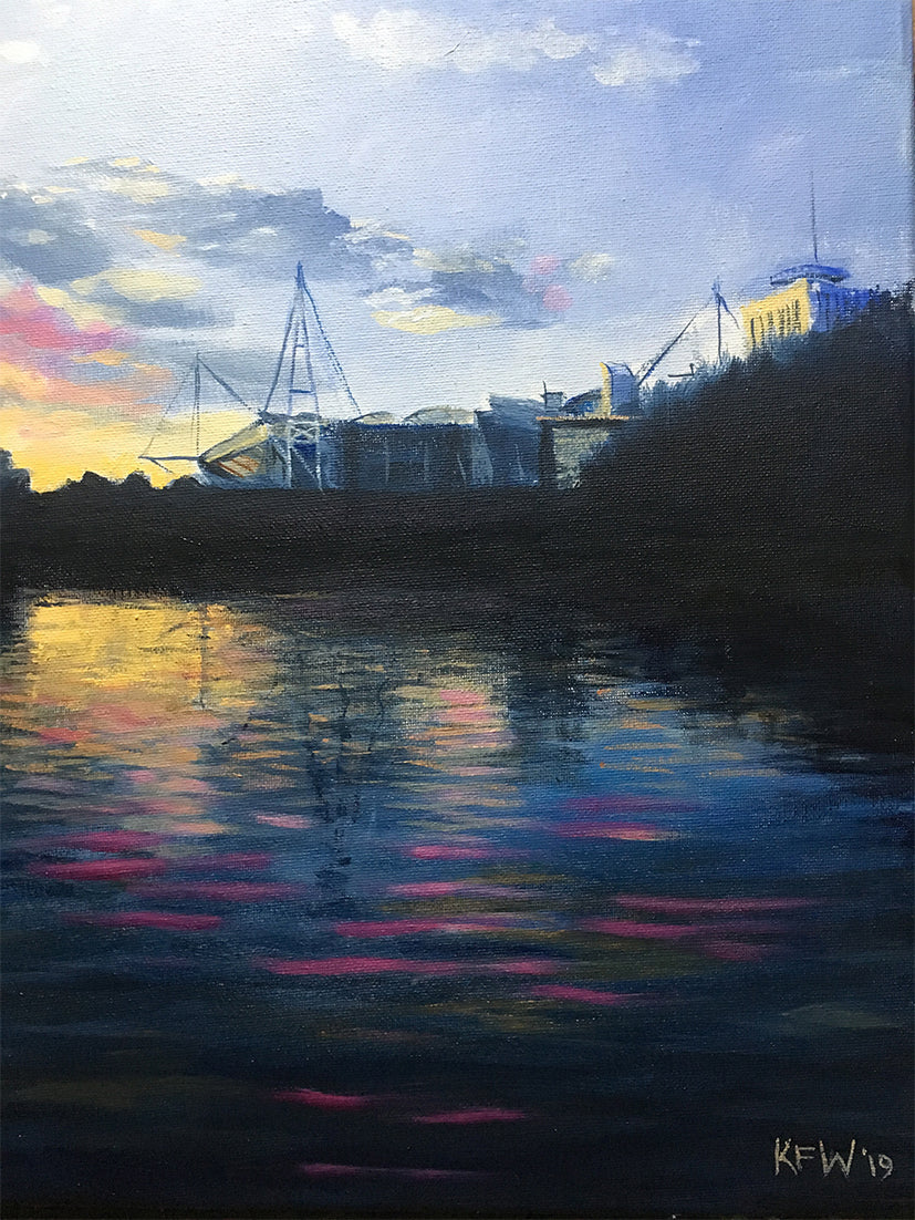 Rugby Art Wales - Principality Stadium on the Taff