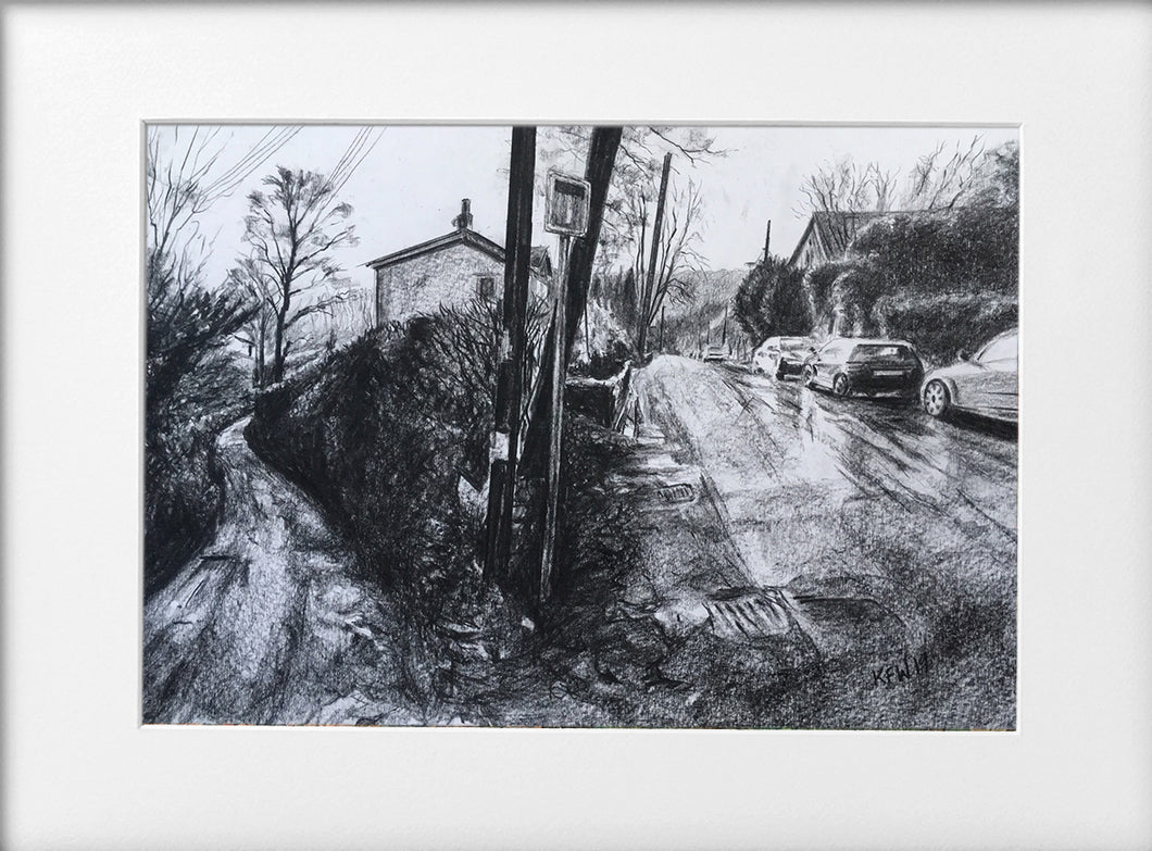 Mounted Print - (Unframed) - School lane Gwaelod Y Garth