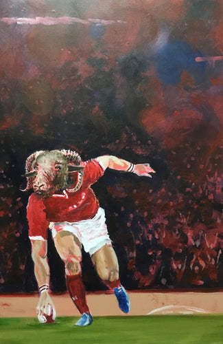 Rugby Art Wales - Welsh player scores a try
