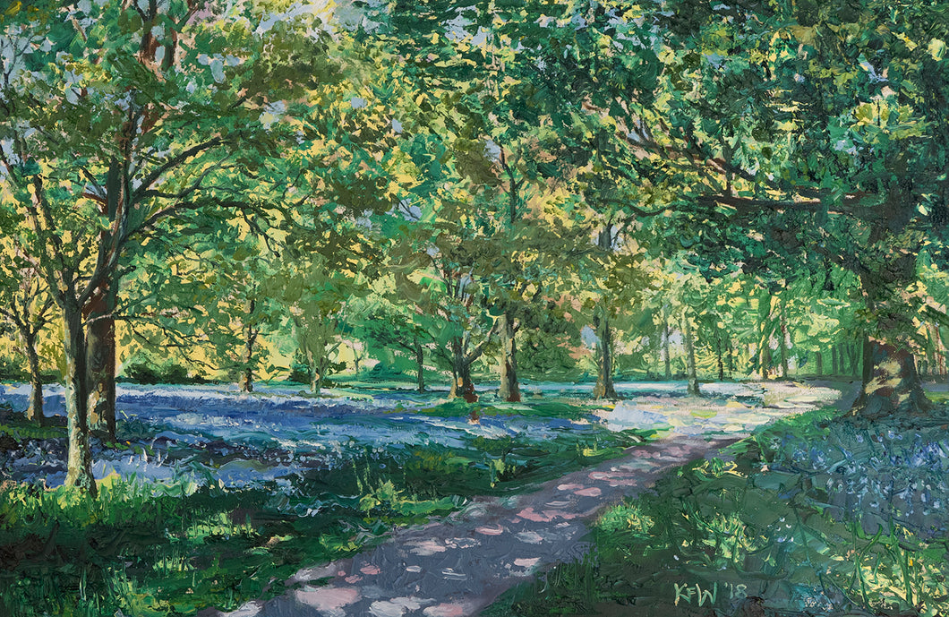 Original oil painting of a spring clearing in Fforest Fawr, Taff's Well