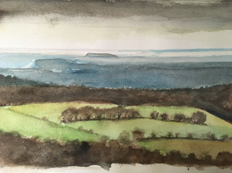 A4 watercolour look from the top of Graig Yr Allt over Taff's Well to the Bristol Channel in the distance