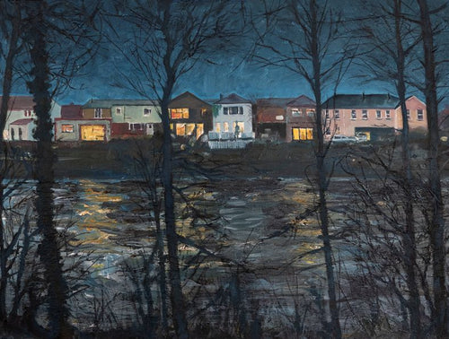 Original oil painting showing the backs of Cardiff Road houses overlooking a swollen River Taff following heavy rain