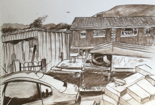 Original graphite drawing of new and relic cars at rear-side of house in Ty Rhiw, Taff's Well