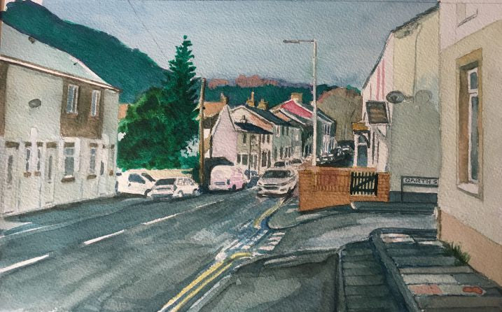 Original watercolour painting depcting the corner of Garth street as it meets Cardiff Road in Taff's Well