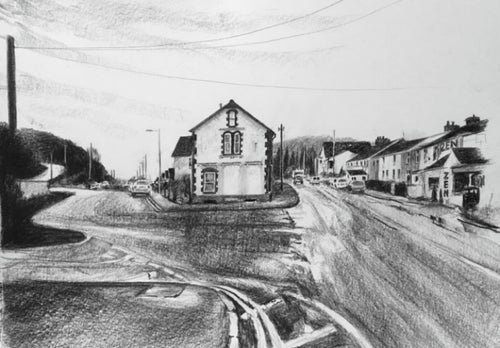Original charcoal drawing of the old 'Emlyn's Shop' building today in Glan y Llyn square, Taff's Well