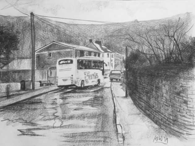 Original graphite drawing of a Ferris school bus stopping at a bus stop in Ty Rhiw, Taff's Well