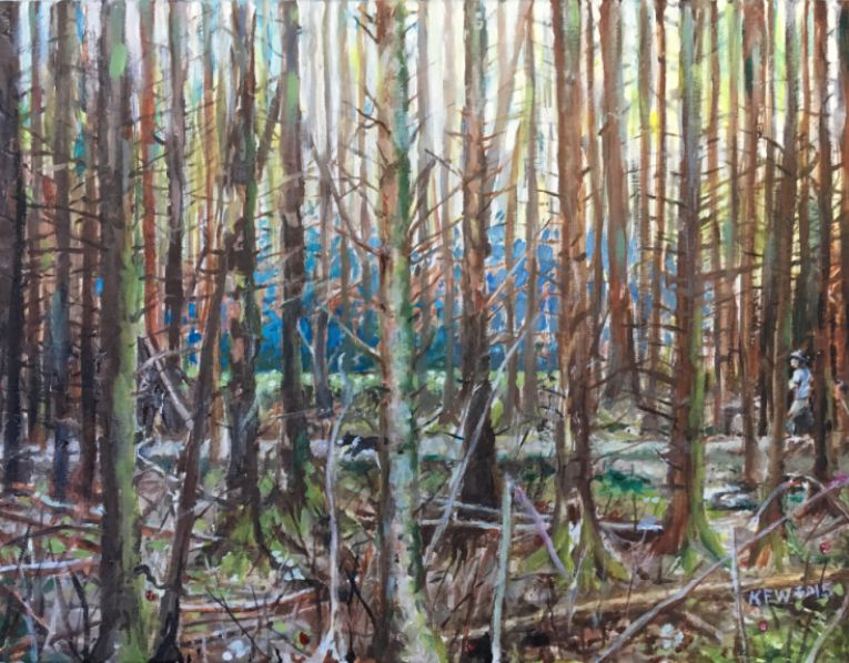 Oil painting on canvas of the stunning Fforest Fawr woodland close area bordering Ty Rhiw, Taff's Well.
