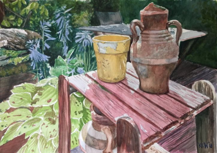 Original watercolour still life painting from a Taff's Well garden, summer 2018