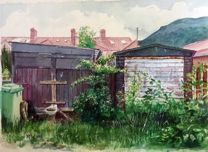 Original Kevin Williams watercolour painting of a lane at the rear of Moy Road, Taff's Well