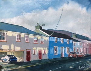 Original oil painting of where the famous 'Arthur's Hardware Shop' once stood in Cardiff Road, Taff's Well