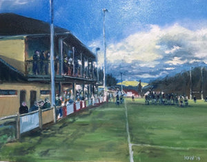 Original oil painting of a rugby match being played at Maes Gwyn, Taff's Well Rugby Club