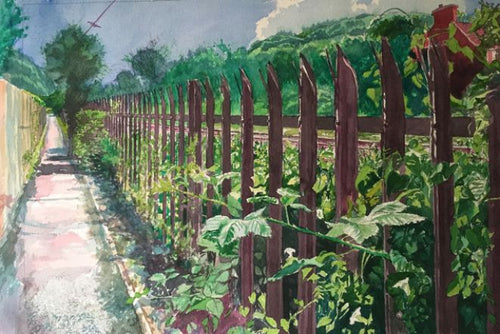 Original Kevin Williams watercolour painting of a walking path running alongside the railway track in Taff's Well