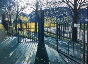 Original oil painting of the still in use old late Victorian park gate posts in Taff's Well