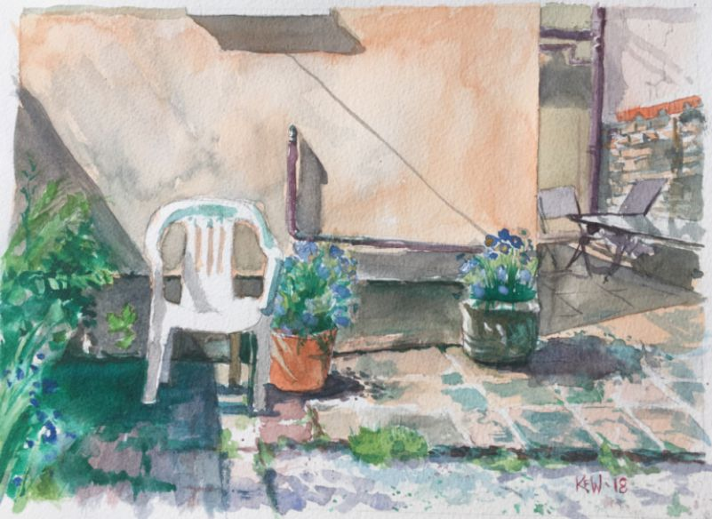 Original Kevin Williams watercolour painting of patio in a Taff's Well garden during the hot summer of 2018