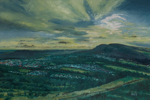 Original oil painting of the setting sun over the Garth Mountain as seen from Craig Mountain