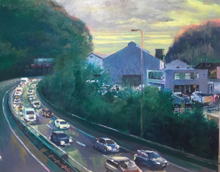 Original oil painting showing the A470 skirting around the Forgemasters in Taff's Well