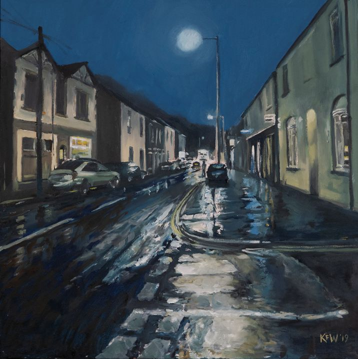 Original oil painting on canvas capturing the corner of Anchor Street in Taff's Well on a winter's night