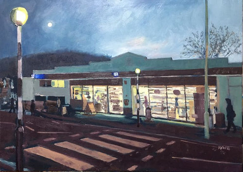 Original oil painting on canvas of the iconic Taff's Well Co-op building