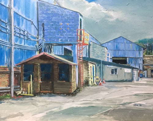 Original Kevin Williams oil painting of the Forgemasters industrial sheds in Taff's Well