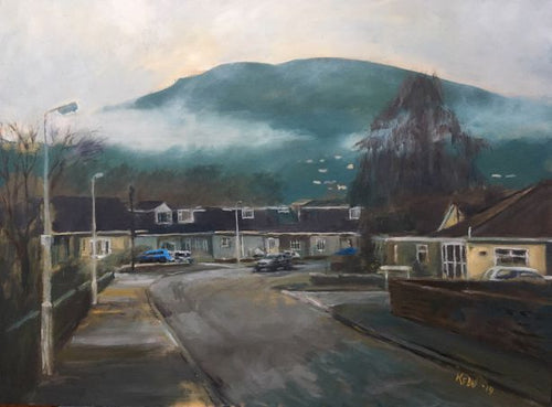Original oil on board painting of the Garth Mountain as viewed through low cloud mist from Brynau Road, Ty Rhiw, Taff's Well