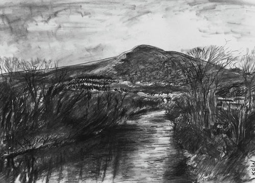 Original charcoal drawing showing the River Taff with the Garth in the distance from south Taff's Well