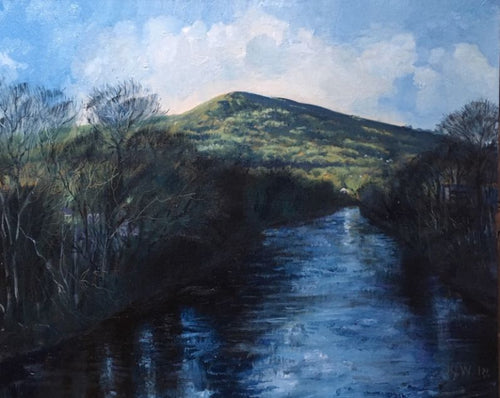 An original oil painting showing the River Taff with the Garth Mountain in the distance