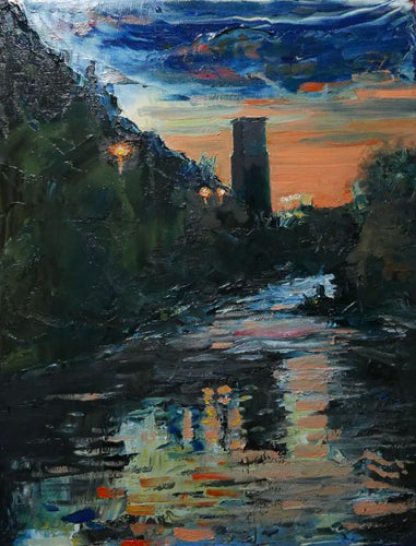 Original oil painting of one the two remaining Walnut Tree Viaduct 'totems' in Taff's Well