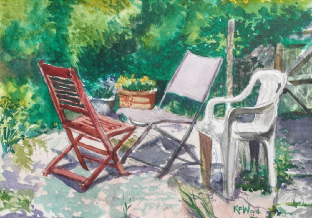 Original watercolour painting of a set of chairs set in a Taff's Well garden during the glorious summer of 2018