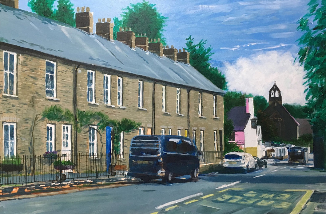 Acrylic on board painting of terraced housing on Merthyr Road, Tongynlais