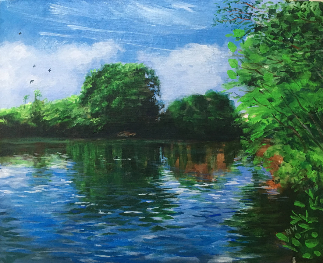 Acrylic on board painting of a flight of swallows over the River Taff, Tongwynlais