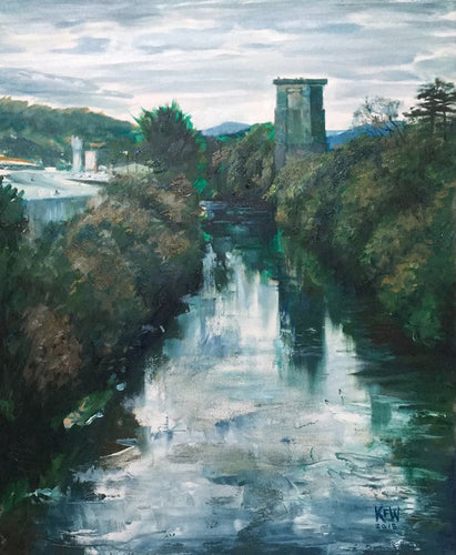 Original Kevin Williams oil painting of one of the remaining two Walnut Tree Viaduct brick columns in Taff's Well